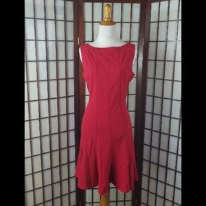 Sandra Darren Red Fit and Flared Dress